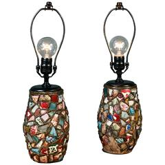 Pair of Vintage, Charming Porcelain Mosaic Table Lamps