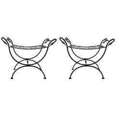 Pair of Brass and Iron Swan Benches Ottomans