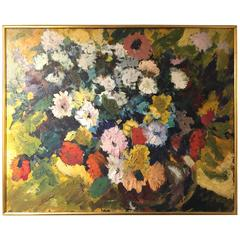 Mid-Century Impressionist Style Large Floral Still Life Oil Painting on Canvas