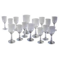 Set of 15 French Vintage Pierre Deux Stemmed Blown Glasses
