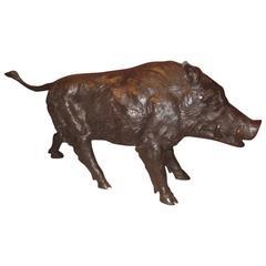 Magnificent Lifesize Bronze Wild Boar Sculpture