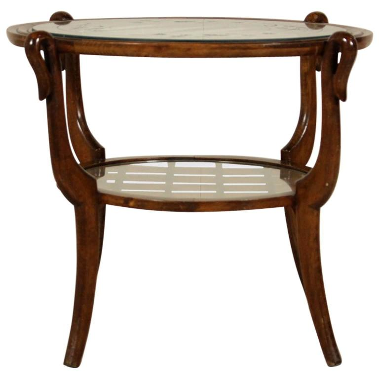 Vintage Coffee Table Stained Beechwood Decorated Glass Italy 1950s At 1stdibs
