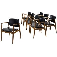 Erik Buck Set of Eight 'Captains' Armchairs in Oak and Black Upholstery