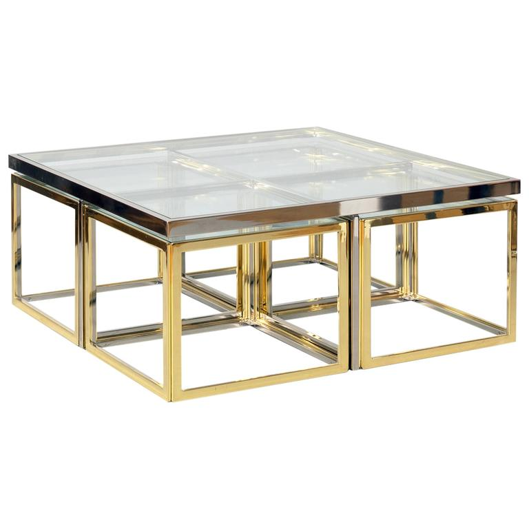 Maison Charles Charles Et Fils Coffee Table With Nesting Tables Bi Colored At 1stdibs