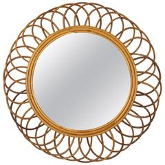 1960s Spanish Bamboo and Rattan Flower Burst Mirror