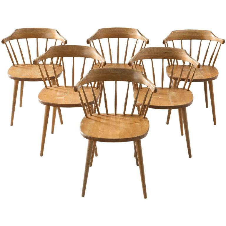 Yngve Ekström Set of Six 'SmåLand' Dining Chairs in Birch