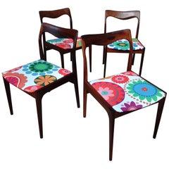Four Danish 1960s Retro Moller Rosewood Chairs