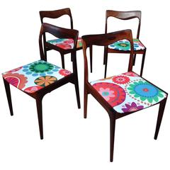Four Danish 1960s Retro Moller Rosewood Chairs