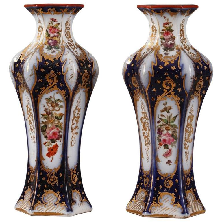 Pair of Napoleon III Porcelain Vases For Sale