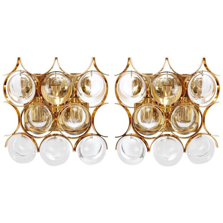 Palwa Sconces Wall Lights, Gilt Brass Crystal Glass, 1970
