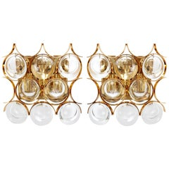 Palwa Sconces Wall Lights, Gilt Brass Crystal Glass, 1970