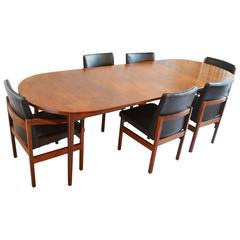 1970's Danish teak dining table / 6 leather chairs by Nils Jonsson for Hugo Troe
