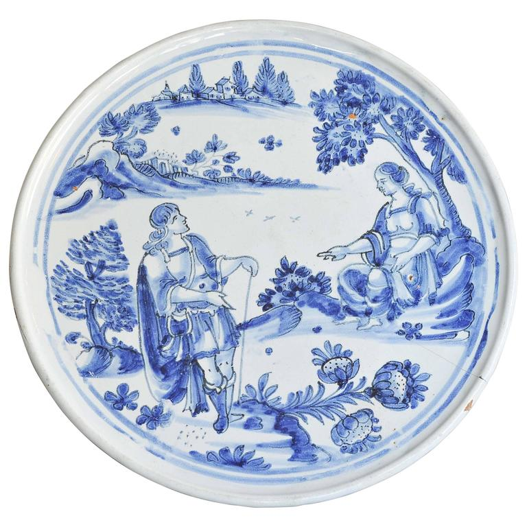 """Late 17th Century Nevers French Faience  Blue and White """"Tazza,"""" circa 1680"""