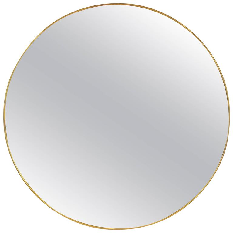 Large round brass framed mirror at 1stdibs for Circle mirror