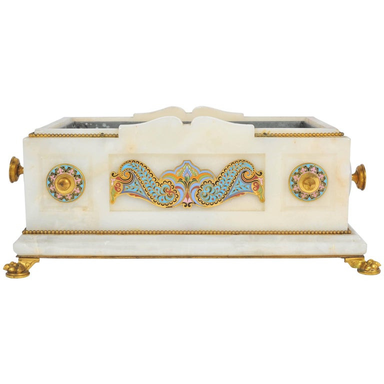 19th Century Marble and Champlevé Enamel Jardinière For Sale