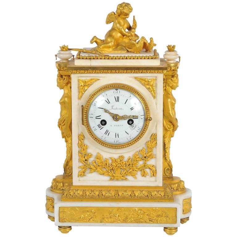 19th Century French Mantel Clock, Louis XVI style, by Festeau, Paris For Sale