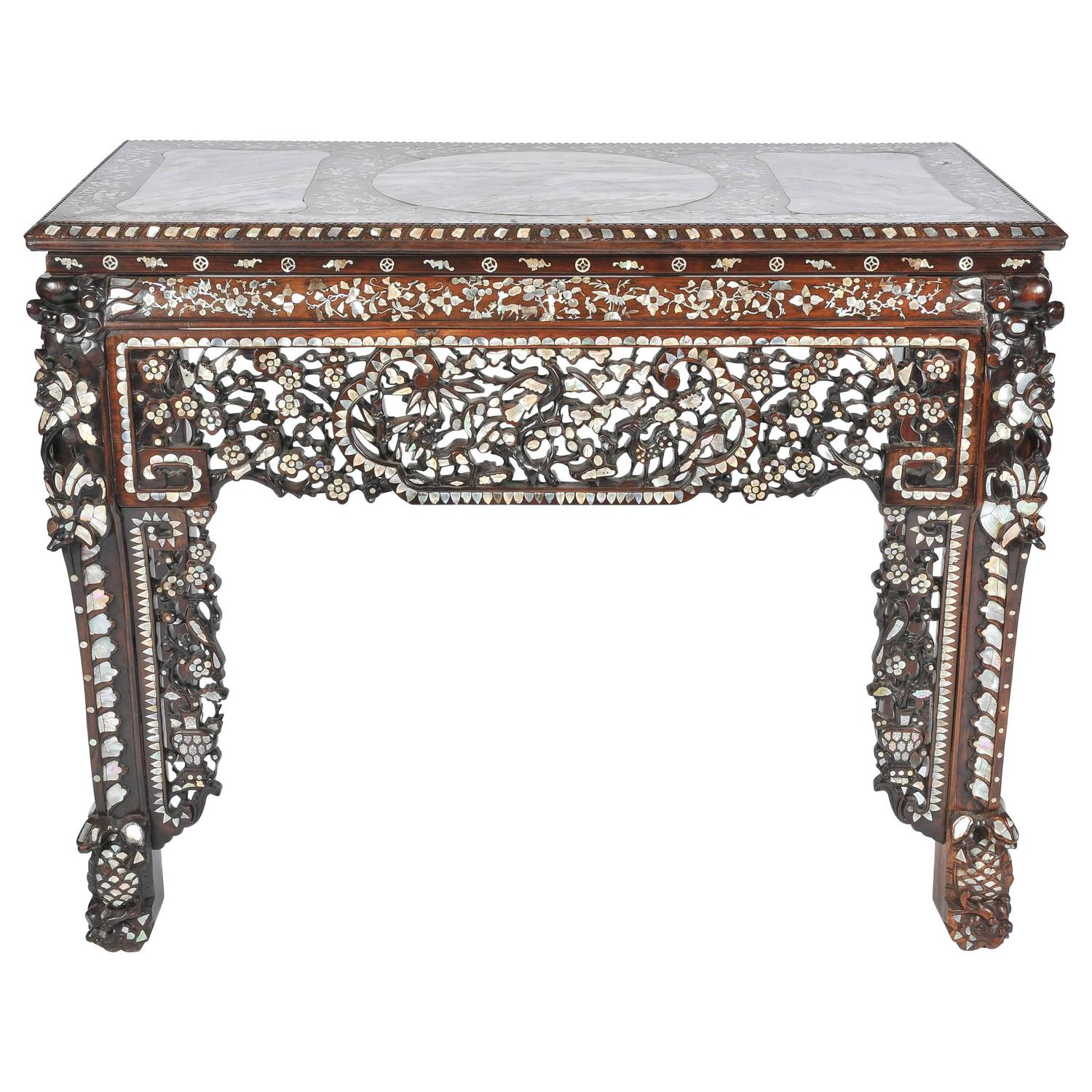 Mother of pearl console tables 7 for sale at 1stdibs 19th century chinese mother of pearl inlaid table geotapseo Image collections
