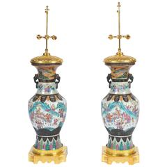Large Pair 19th Century Chinese Crackle Ware Vase or Lamps