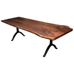 Signature Live Edge Black Walnut Slab Table, Blackened Steel Wishbone Legs