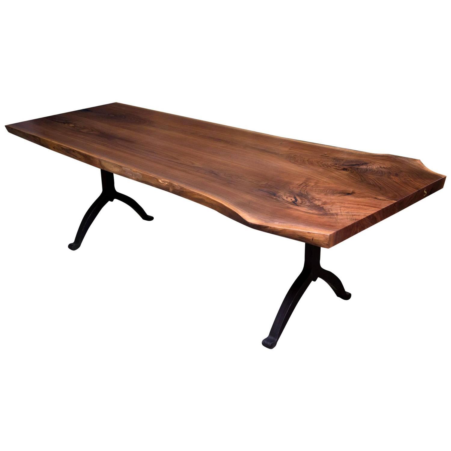 Signature Live Edge Black Walnut Slab Table Blackened Steel