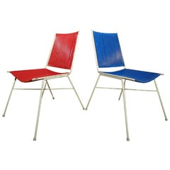 Vintage Retro 1950's Pair of French Red and Blue wire chairs