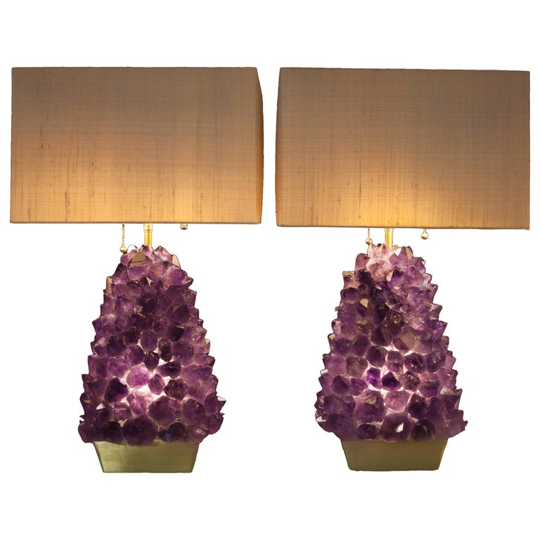 Pair of Amethyst Lamps, Demian Quincke For Sale