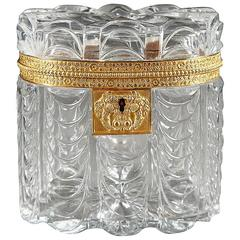 Early 19th Century Cut Crystal Oval Jewelry Box