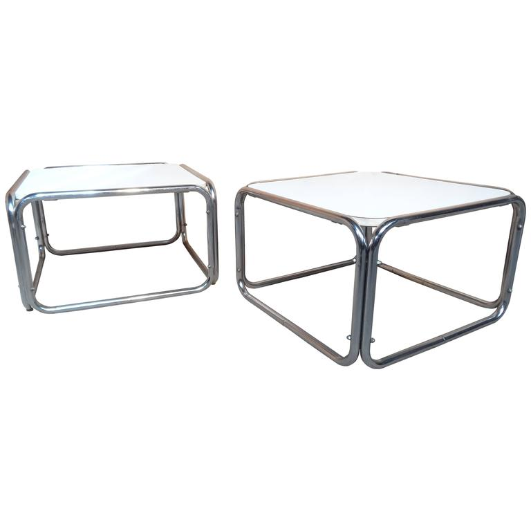 1960s Chrome White Cube Coffee Tables Only 1 Available At 1stdibs