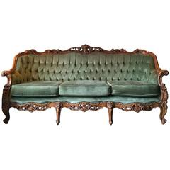 Antique Style Louis XV Sofa Three-Seat Settee Button-Back Upholstered