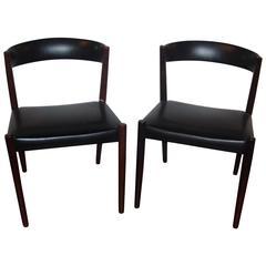 Pair of Custom Quality Danish Mid-Century Modern Side Chairs