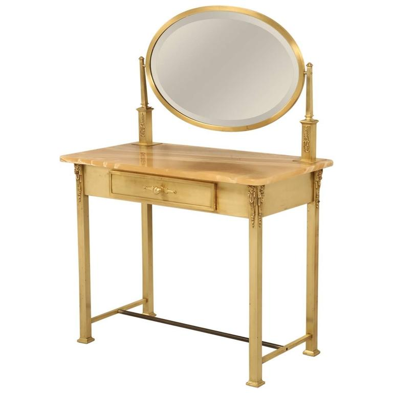 French Onyx And Brass Bathroom Vanity Or Dressing Table At