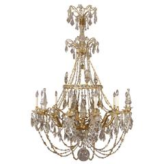 Palatial and Unique Gilt Bronze and Crystal Chandelier, Maison Jansen, France