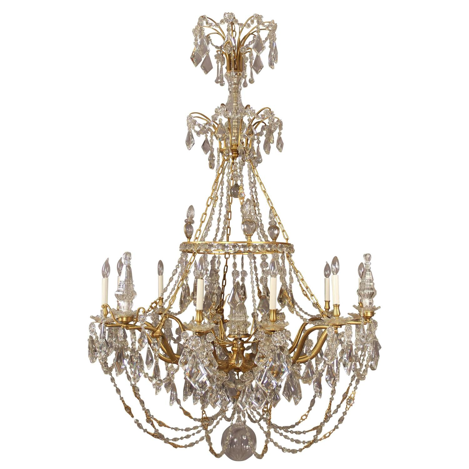 Palatial and unique gilt bronze and crystal chandelier maison jansen france for sale at 1stdibs - Unique crystal chandeliers ...