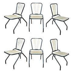 Six René Malaval Iron Folding Chairs, circa 1960