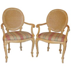 Pair of Twisted and Knotted Form Armchairs