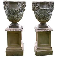 Planters with Mask and Vine Decoration