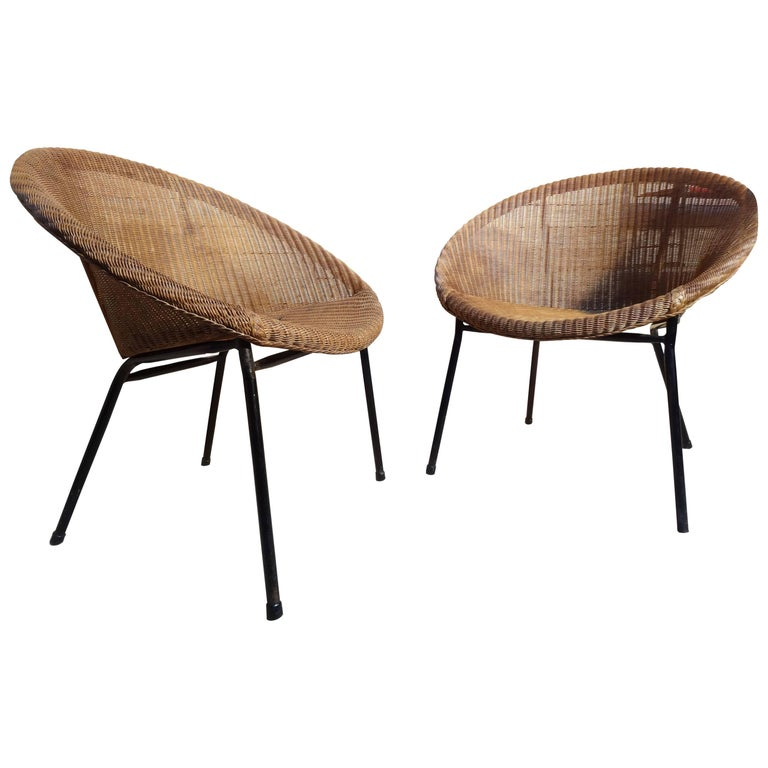 1960s Extremely Sought After Lloyds Loom Rotan Set of Chairs For Sale