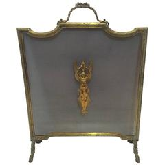 Very Elegant French Empire Bronze Standing Fireplace Screen