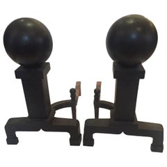 Monumental and Masculine Cannonball Iron Andirons