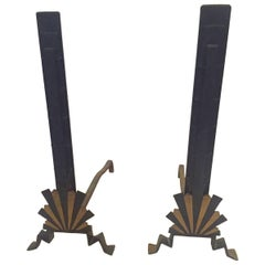 Sensational Rare Art Deco Andirons in Black and Gold