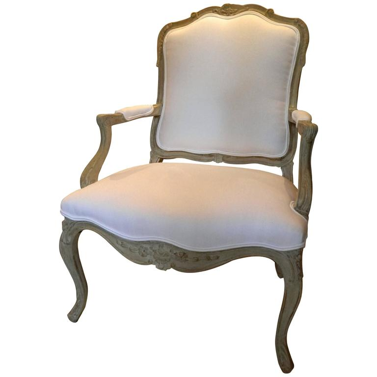 Louis XVI Style Upholstered Open Armchair, Early 20th Century