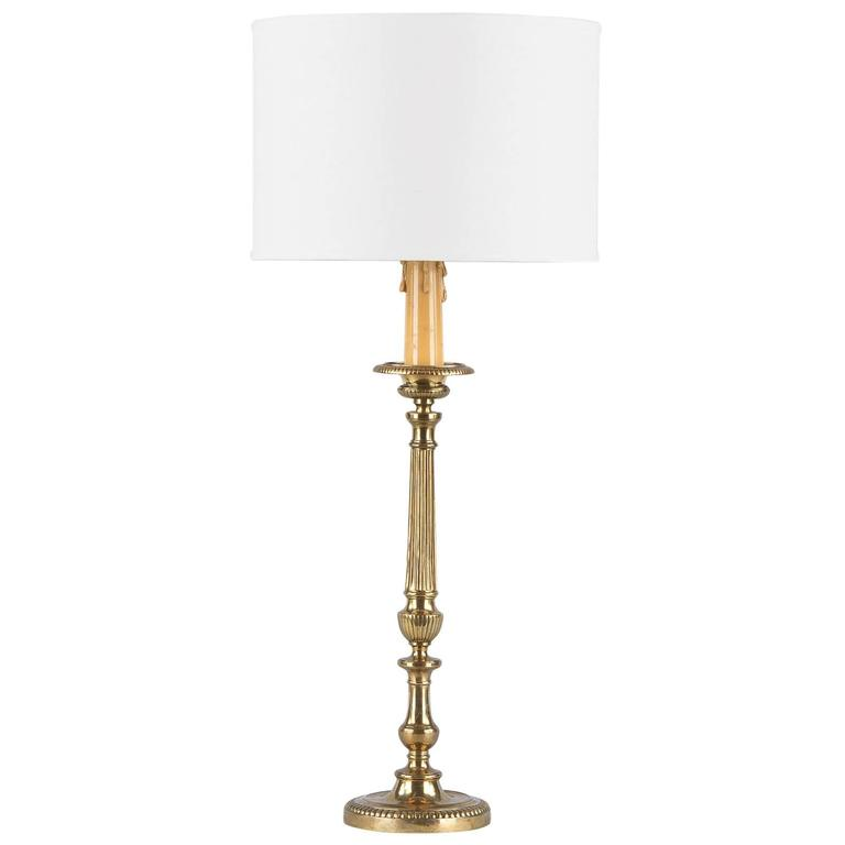 Louis XVI Style Brass Table Lamp, Early 1900s