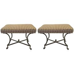 Sleek Pair of Iron and Upholstered X Benches Ottomans