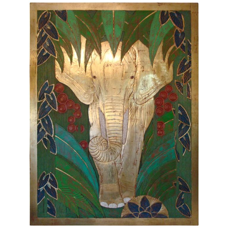 Art Deco Wall Panels: Art Deco Polychromed Carved Elephant In The Middle Of The