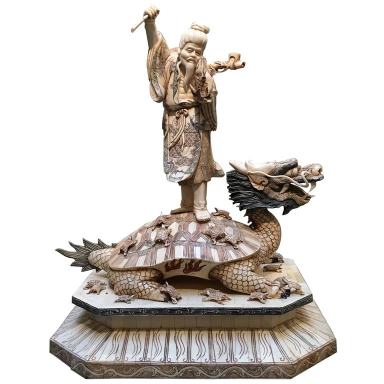 Large Japanese Bone Veneer Sculpture of Ebisu on a Turtle Dragon