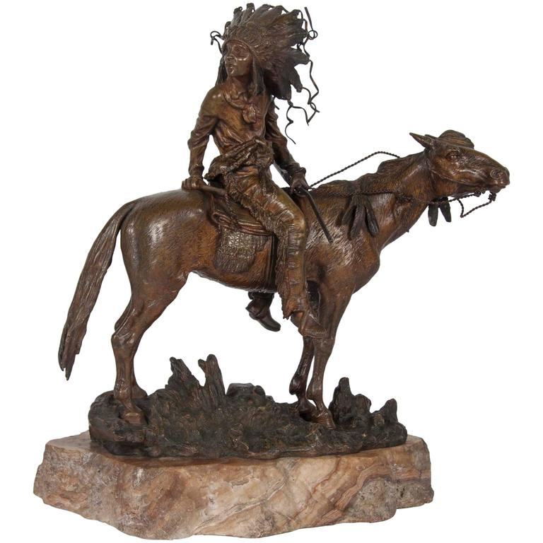 Carl kauba bronze of an indian on horseback for sale at for Original sculptures for sale