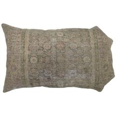 Curvilinear Shaped Distressed Persian Malayer Rug Pillow