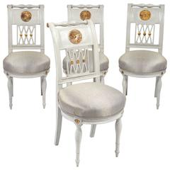French Directoire Period Set of Four Side Chairs