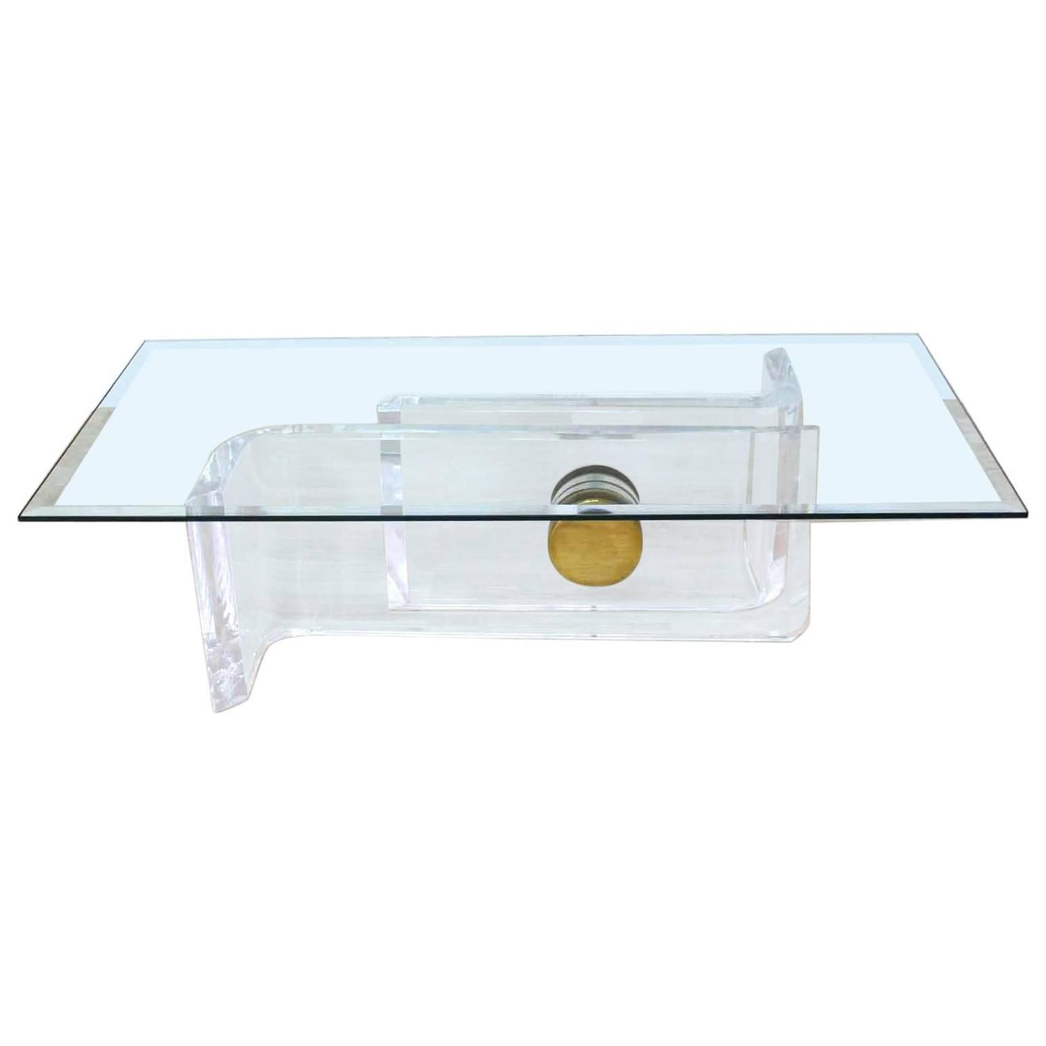 Large Rectangular Gl Top Thick Lucite And Br Base Coffee Table At 1stdibs