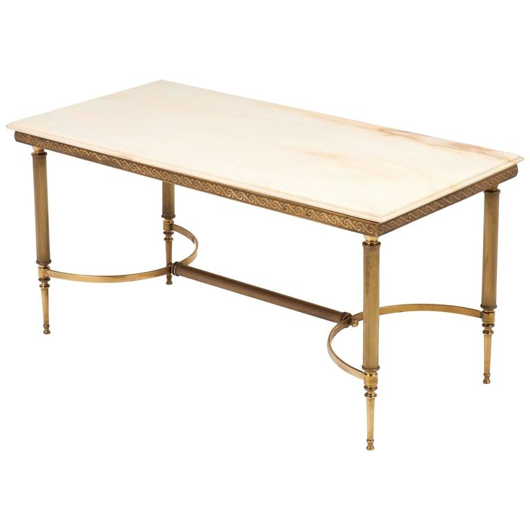 Art Deco Period Onyx And Brass Coffee Table At 1stdibs